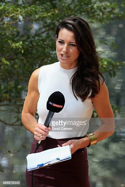 Kirsty Gallacher reports for Sky Sports during the Par 3 Contest prior to the start of the 2015 Masters Tournament at Augusta National Golf Club on...
