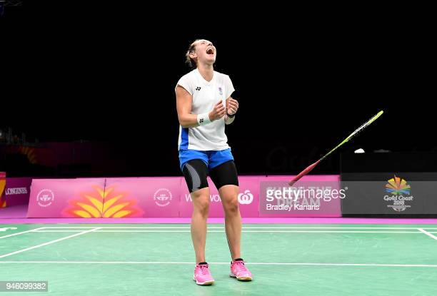 Kirsty Gilmour of Scotland celebrates victory in the WomenÕs Singles Bronze Medal match against Michelle Li of Canada during Badminton on day 10 of...
