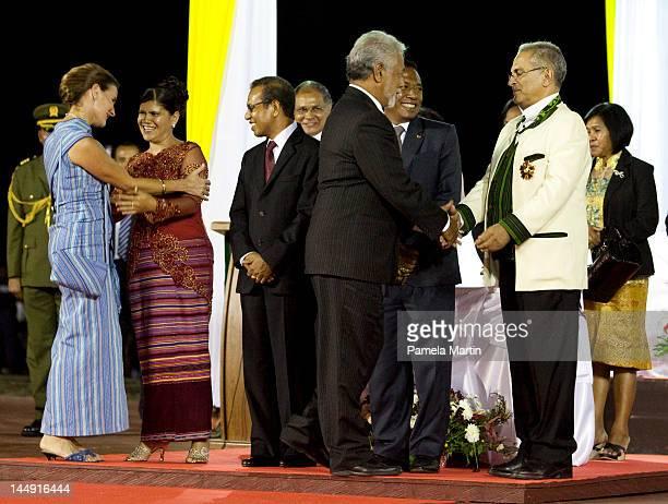 Kirsty Gusmao Fist Lady Isabel De Costa Ferreia President Taur Matan Ruak Prime Minister Xanana Gusmao and Jose Ramos Horta at the Presidential hand...
