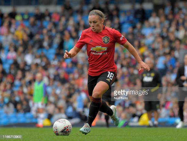 Kirsty Hanson during English FA Women's Super League match between Manchester City and Manchester United at City of Manchester Stadium Manchester...