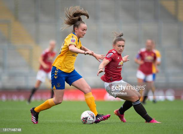 Kirsty Hanson of Manchester United and Megan Finnigan of Everton in action during the Barclays FA Women's Super League match between Manchester...