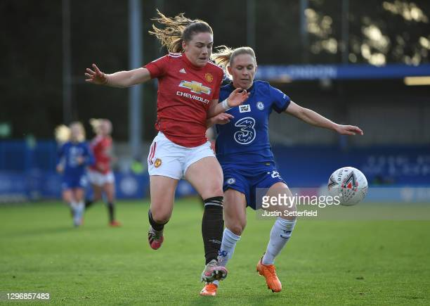 Kirsty Hanson of Manchester United is tackled by Jonna Andersson of Chelsea during the Barclays FA Women's Super League match between Chelsea Women...