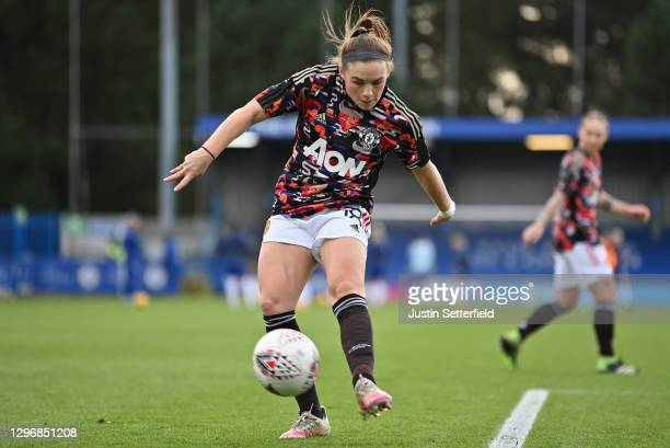 Kirsty Hanson of Manchester United warms up ahead of the Barclays FA Women's Super League match between Chelsea Women and Manchester United Women at...