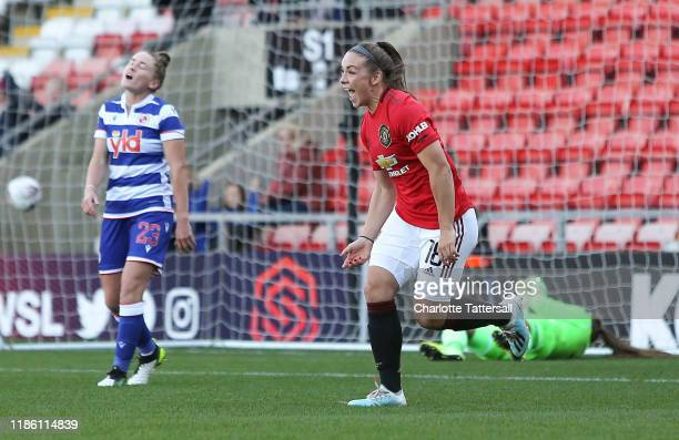 Kirsty Hanson of Manchester United Women celebrates after scoring her sides first goal during the Barclays FA Women's Super League match between...