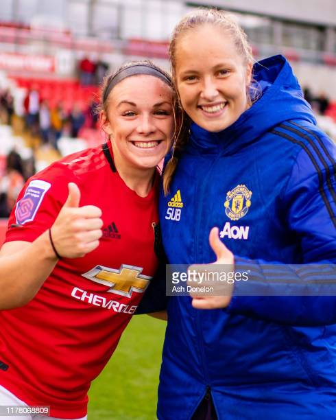 Kirsty Hanson of Manchester United Women celebrates after the Barclays FA Women's Super League match between Manchester United and Liverpool at Leigh...