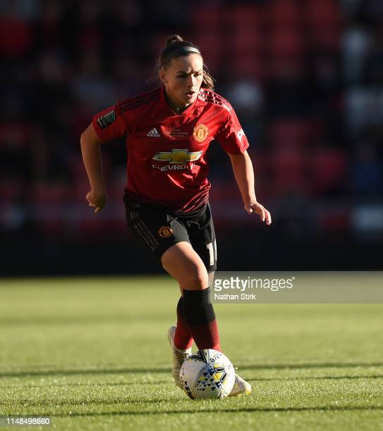 Kirsty Hanson of Manchester United Women in action during the Women's Super League match between Manchester United Women and Lewes Women at Leigh...