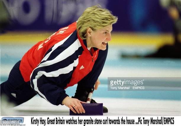 Kirsty Hay Great Britain watches her granite stone curl towards the house