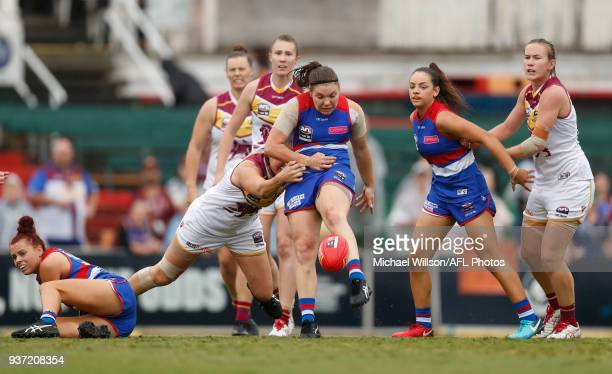 Kirsty Lamb of the Bulldogs in action during the 2018 AFLW Grand Final match between the Western Bulldogs and the Brisbane Lions at IKON Park on...