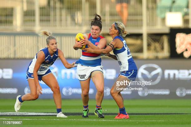 Kirsty Lamb of the Bulldogs in action during the round three AFLW match between the North Melbourne Kangaroos and the Western Bulldogs at the...