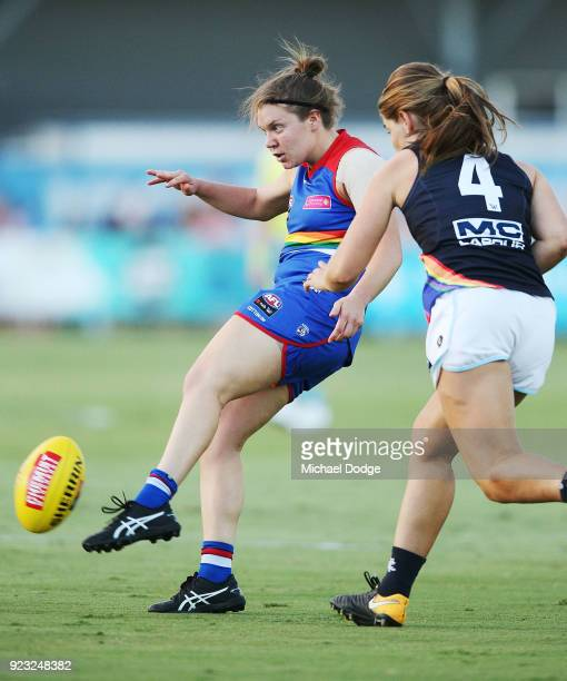 Kirsty Lamb of the Bulldogs kicks the ball during the round four AFLW match between the Western Bulldogs and the Carlton Blues at Whitten Oval on...