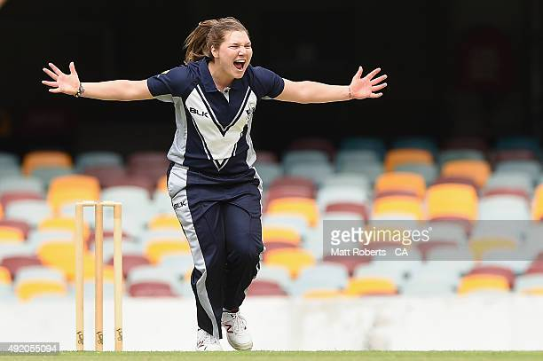 Kirsty Lamb of the Spirit the wicket of Amy Satterthwaite of the Roar during the round one WNCL match between Victoria and Tasmania at Allan Border...