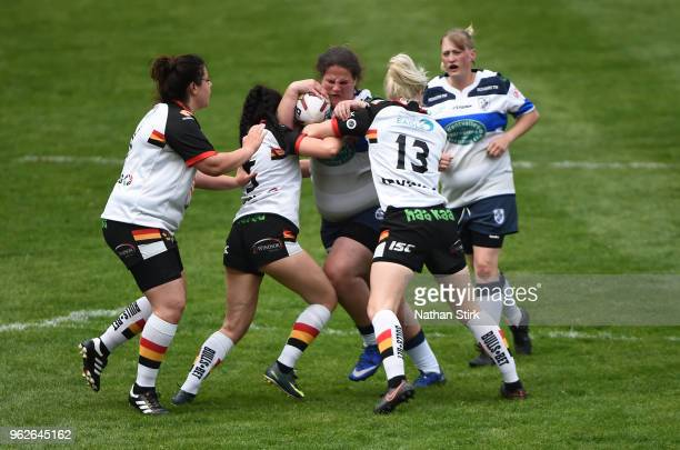 Kirsty Mills of Featherstone Rovers Ladies in action during the Rugby League 2018 Summer Bash match between at Bloomfield Road on May 26 2018 in...
