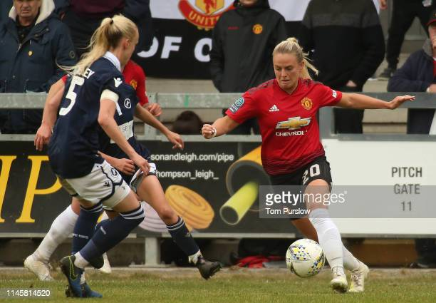 Kirsty Smith of Manchester United Women in action during the FA Women's Championship match between Manchester United Women and Millwall Lionesses at...