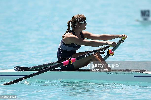 Kirsty Thompson of Nelson competes in the Womens Open Singles Sculls during the 2013 Meridian Otago Championships at Lake Ruataniwha on December 14,...