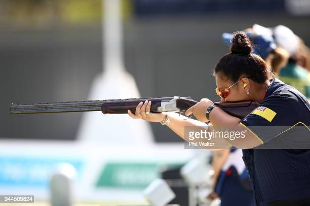 Kirsty Togiavalu of Niue competes during the Women's Double Trap Finals on day seven of the Gold Coast 2018 Commonwealth Games at Belmont Shooting...