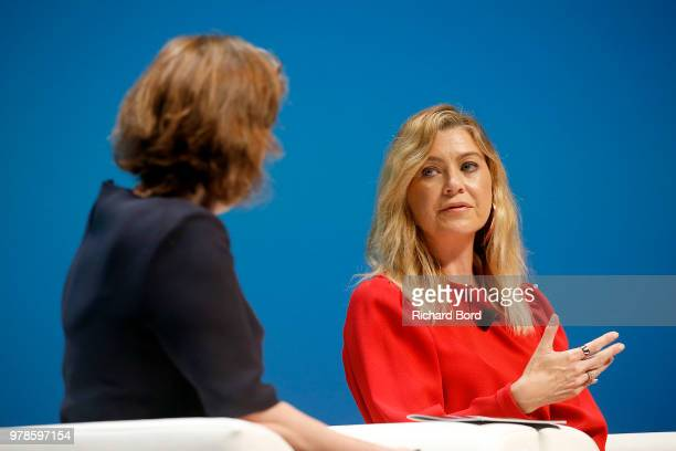Kirsty Wark and Ellen Pompeo speak onstage during the Edelman session at the Cannes Lions Festival 2018 on June 19, 2018 in Cannes, France.