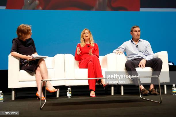 Kirsty Wark Ellen Pompeo and Richard Edelman speak onstage during the Edelman session at the Cannes Lions Festival 2018 on June 19 2018 in Cannes...