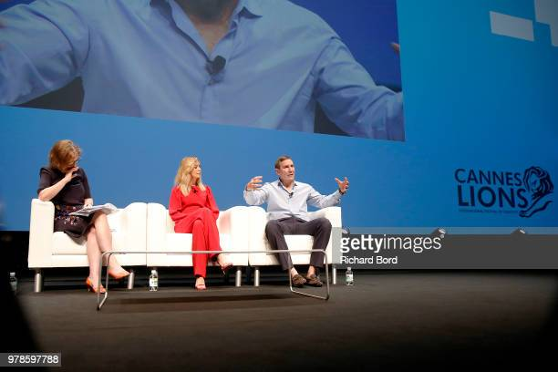 Kirsty Wark, Ellen Pompeo and Richard Edelman speak onstage during the Edelman session at the Cannes Lions Festival 2018 on June 19, 2018 in Cannes,...