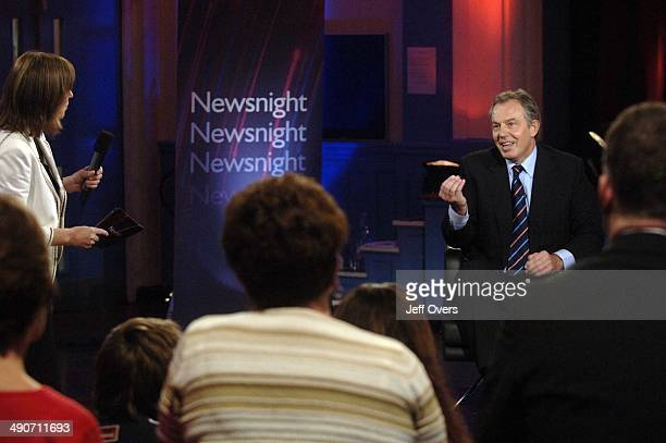 Kirsty Wark puts the questions to Prime Minister Tony Blair, during a on Newsnight with regard to the PM's 'Give respect, get respect' agenda. The...