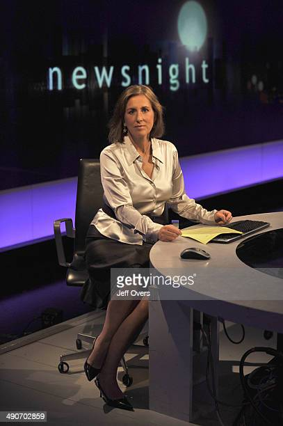 Kirsty Wark seated behind the main desk in the BBC Newnight studio.
