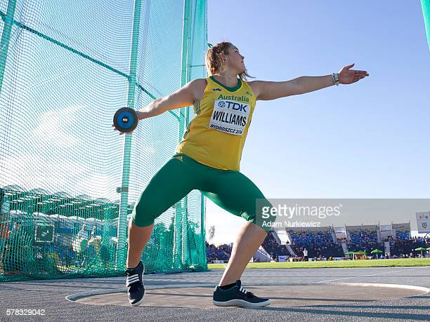 Kirsty Williams from Australia competes in women's discus throw during the IAAF World U20 Championships at the Zawisza Stadium on July 21 2016 in...