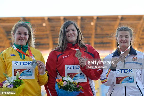 Kirsty Williams from Australia Kristina Rakocevic from Montenegro and Alexandra Emilianov from Moldova on the podium after women's discus throw...