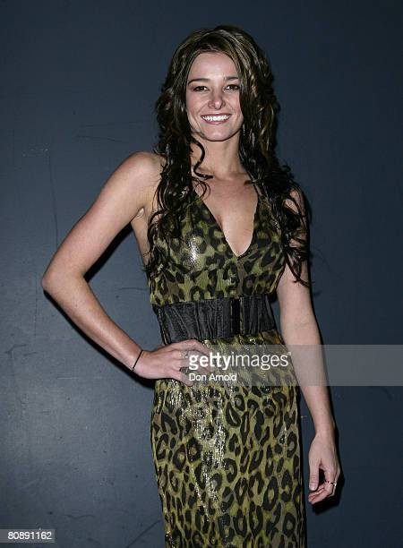 KirstyLee Allan arrives on the red carpet at the MAC Cosmetics Gold Fever Party on the first day of the Rosemount Australian Fashion Week...