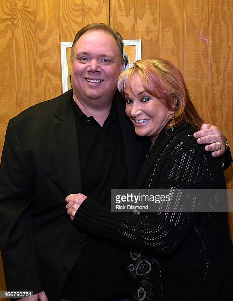 Kirt Webster Webster PR and Tanya Tucker backstage during the AllStar Whitey Shafer Benefit Hosted By Moe Bandy at The Nashville Palace on March 18...