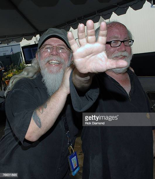 NEW YORK SEPTEMBER 09 Kirt West Allman Brothers Tour Mananger and Photographer Paul Natkjin Backstage at Farm Aid 2007 at ICAHN Stadium on Randall's...