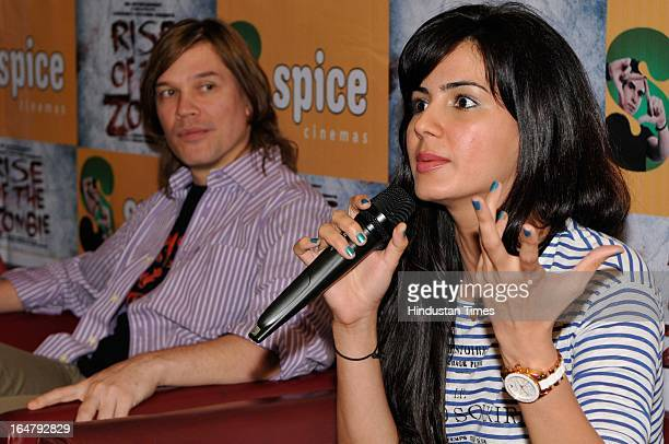 """Kirti Kulhari speaks during a press conference about their upcoming film """"Rise of the Zombie"""" at Spice World Mall in Sector 25A on March 28 2013 in..."""
