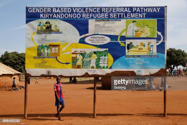 Kiryangondo refugee camp Gender based violence referral sign Uganda