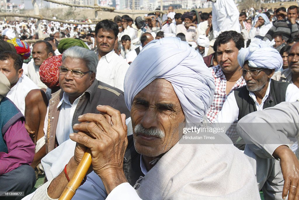 Kisan at Kisan Sammelan on the occasion of late Rajesh Pilot's 68th birth anniversary on February 10, 2013 in Gurgaon, India. Corporate Affairs minister Sachin pilot listed the 'pro-farmer and pro-people' initiatives taken by the Congress-led coalition in the past eight years.
