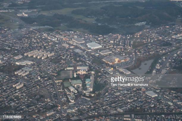 kisarazu city of chiba prefecture in japan aerial view from airplane - chiba city fotografías e imágenes de stock
