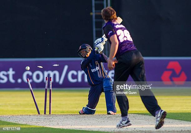 Kishen Velani of Essex is bowled out by James Fuller of Gloucestershire during the NatWest T20 blast match between Essex Eagles and Gloucestershire...