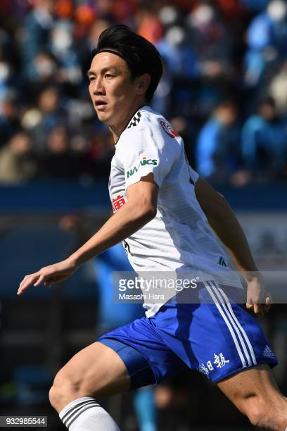 Kisho Yano of Albirex Niigata looks on during the JLeague J2 match between Yokohama FC and Albirex Niigata at Nippatsu Mitsuzawa Stadium on March 17...