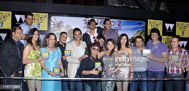 Kishwar Merchant Vinay Pathak Minissha Lamba and Aditi Govitrikar at the music launch of the movie Bheja Fry 2 at Tryst Mumbai on June 7 2011