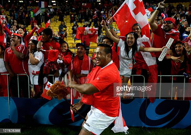 Kisi Pulu of Tonga celebrates folllowing his team's 1419 victory during the IRB 2011 Rugby World Cup Pool A match between France and Tonga at...