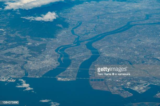 Kiso River and Ibi River, and Yatomi city in Aichi prefecture and Kuwana city in Mie prefecture in Japan daytime aerial view from airplane