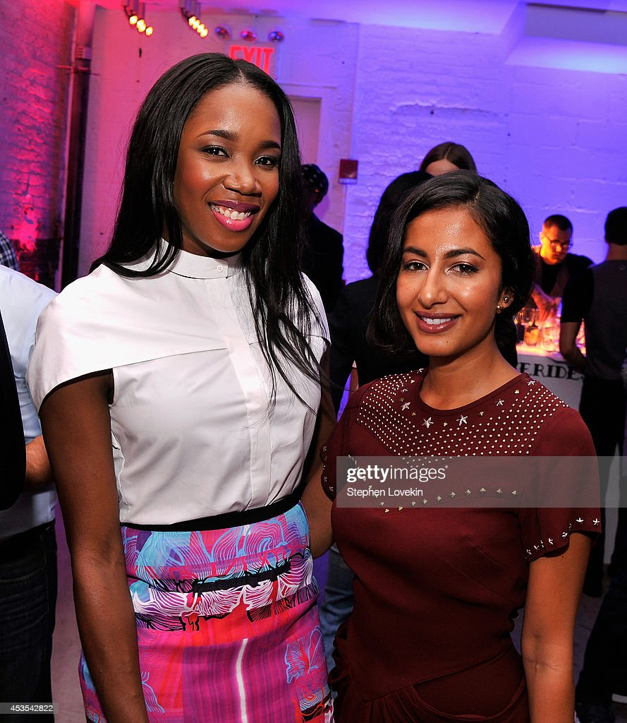 DJ Kiss (L) and Fashion Contributor/Writer at New York Post, MarieClaire.com, L'Officiel Nausheen Shah attend Kiehl's LifeRide for amfAR co-hosted by FIJI Water on August 12, 2014 in New York City.