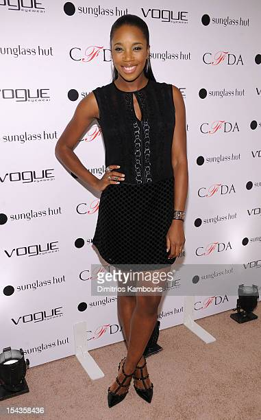 Kiss attends the Vogue Eyewear and CFDA unveiling of the Emma sunglass with Nanette Lepore and Emma Roberts at Sunglass Hut on October 18 2012 in New...