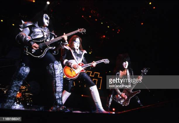 Kiss bass player Gene Simmons rhythm guitarist and lead vocalist Paul Stanley and lead guitarist Ace Frehley perform during the Psycho Circus World...