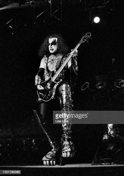 Kiss bassist Gene Simmons performs at the CoreStates Center on October 8 in Philadelphia Pennsylvania