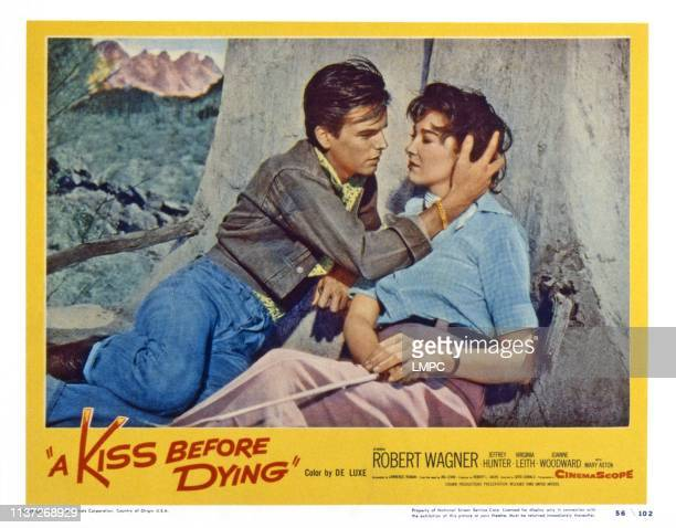 A Kiss Before Dying US lobbycard from left Robert Wagner Virginia Leith 1956