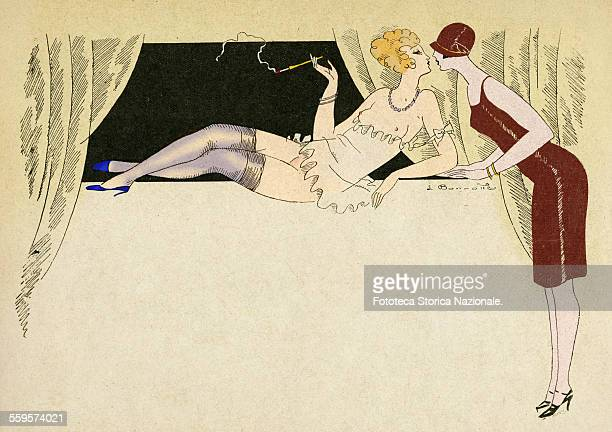 the first a smoker sensual and in underwear lying on the bed the second dressed smartly and ready to go to the office Illustration of Leon Bonnotte...