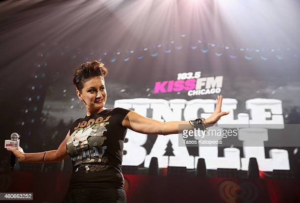 Kiss FM personality Angi Taylor speaks onstage during 1035 KISS FM's Jingle Ball 2014 at Allstate Arena on December 18 2014 in Chicago Illinois