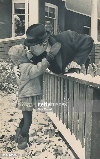 A kiss for Granddad is given Prime Minister Pearson by his granddaughter Robin Hannah The girl had already left her Warren Rd home for school when...