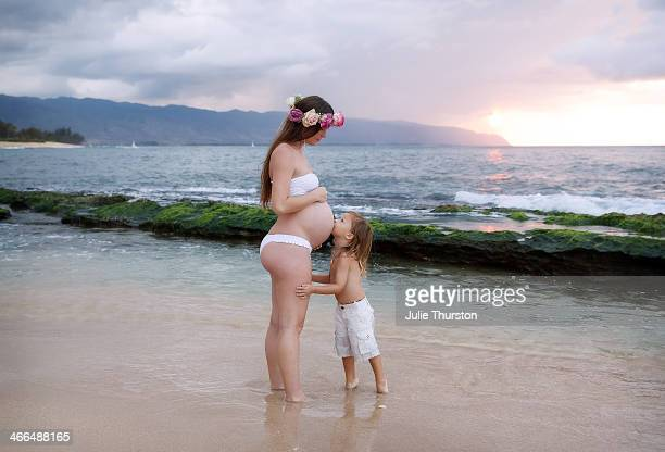Kiss for my Baby Sister at the Beach in Hawaii