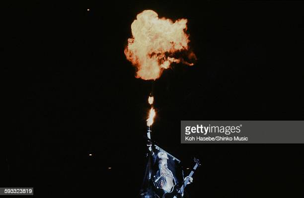 Kiss Gene Simmons blowing up flames on stage at Nippon Budokan, Tokyo, March 28, 1978.
