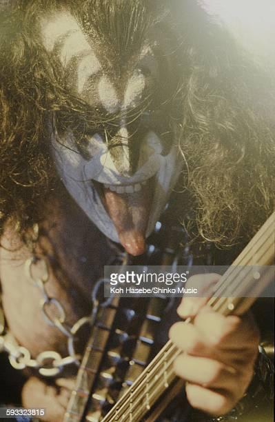 Kiss Gene Simmons sticking out his tongue at camera at Nippon Budokan Tokyo March 28 1978