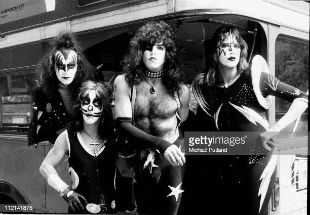 Kiss group portrait on double decker bus London 10th May 1976 LR Gene Simmons Peter Criss Paul Stanley Ace Frehley